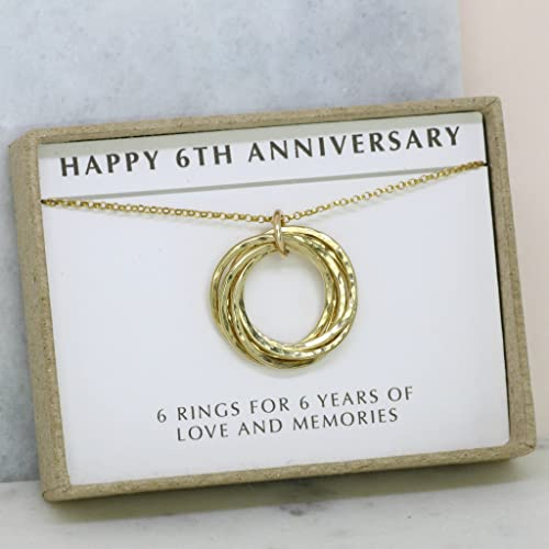Amazon.com 6th anniversary gift gold jewelry for wife 6 year wedding anniversary gift for her - LILIA Handmade  sc 1 st  Amazon.com & Amazon.com: 6th anniversary gift gold jewelry for wife 6 year ...