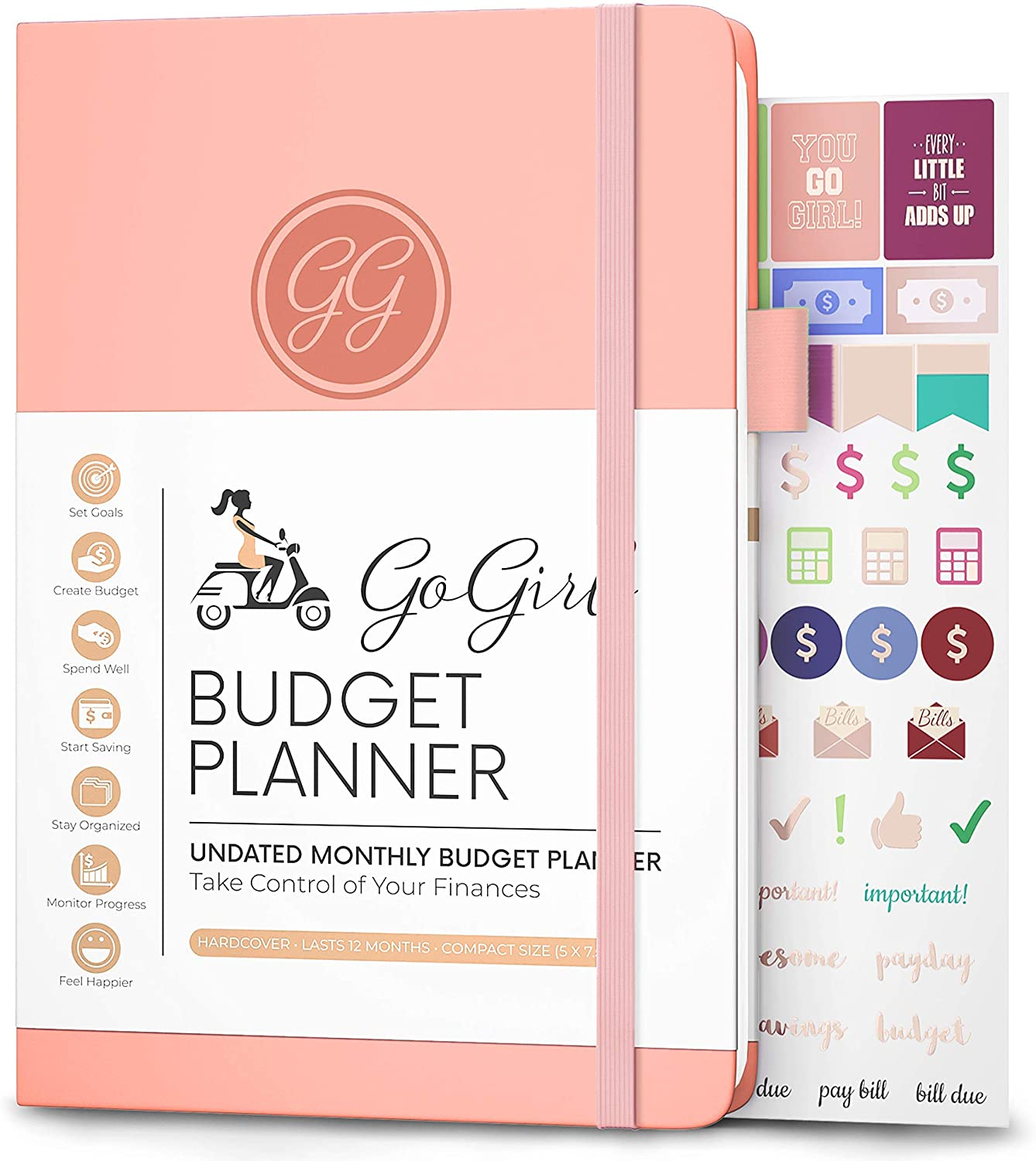 "GoGirl Budget Planner - Monthly Financial Planner Organizer Budget Book. Expense Tracker Notebook Journal to Control Your Money. Undated - Start Any Time, 5.3"" x 7.7"", Lasts 1 Year - Peach Pink"