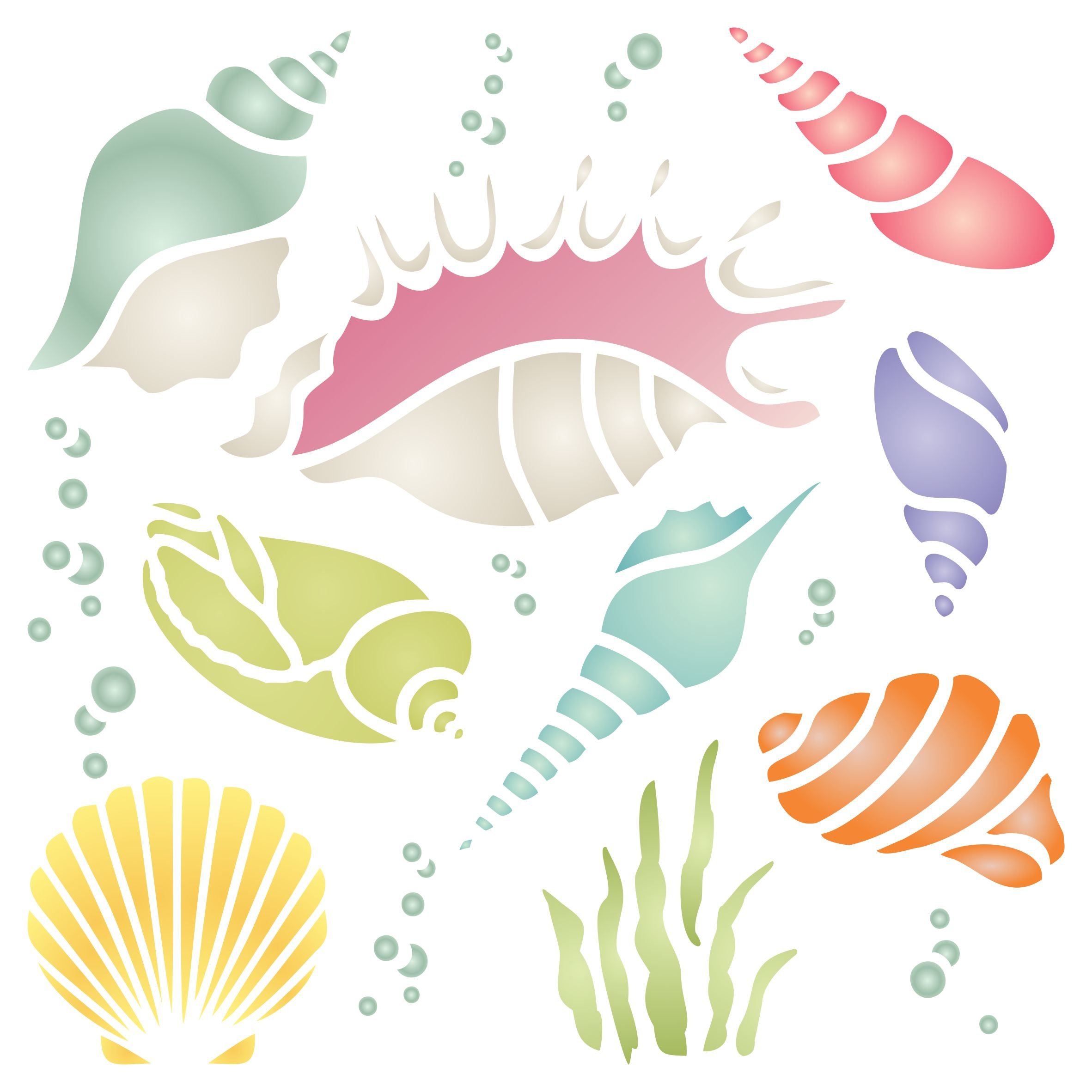Shells Stencil - 8.5 x 8.5 inch (L) - Reusable Sea Ocean Nautical Seashore Reef Wall Stencil Template - Use on Paper Projects Scrapbook Journal Walls Floors Fabric Furniture Glass Wood etc.
