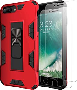 Mieziba Compatible with iPhone 7 Plus 8 Plus 6 Pus Case with Tempered Glass Screen Protector [2 Pack], [ Military Grade ] 15ft. Drop Tested Protective Case [Kickstand] Compatible iPhone 7 8 Plus,Red