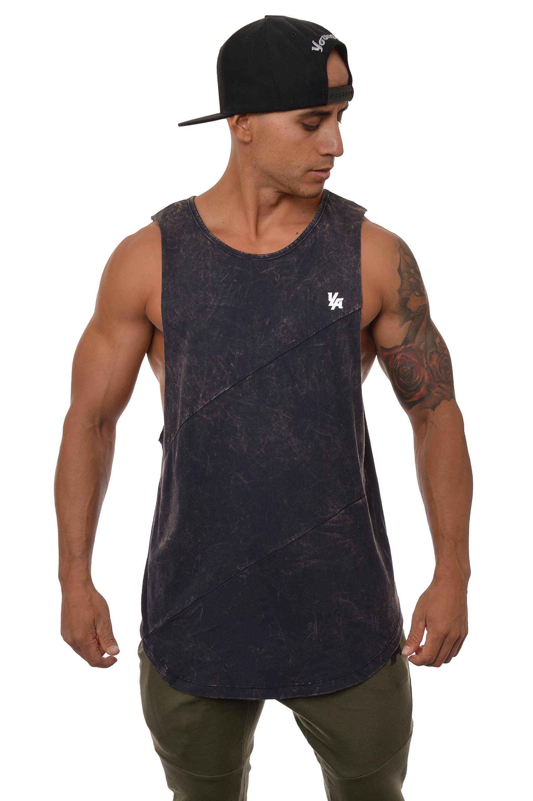 YoungLA Long Tank Tops for Men Muscle Shirt Bodybuilding Gym Athletic Training Sports Everyday Wear 306 (Small, Navy Acid Washed)