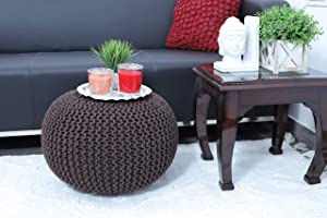 Fernish Décor Hand Knitted Cotton Ottoman Pouf Footrest 20x20x14 INCH, Living Room Accent seat (Brown)