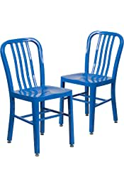 Flash Furniture 2 Pack Blue Metal Indoor-Outdoor Chair