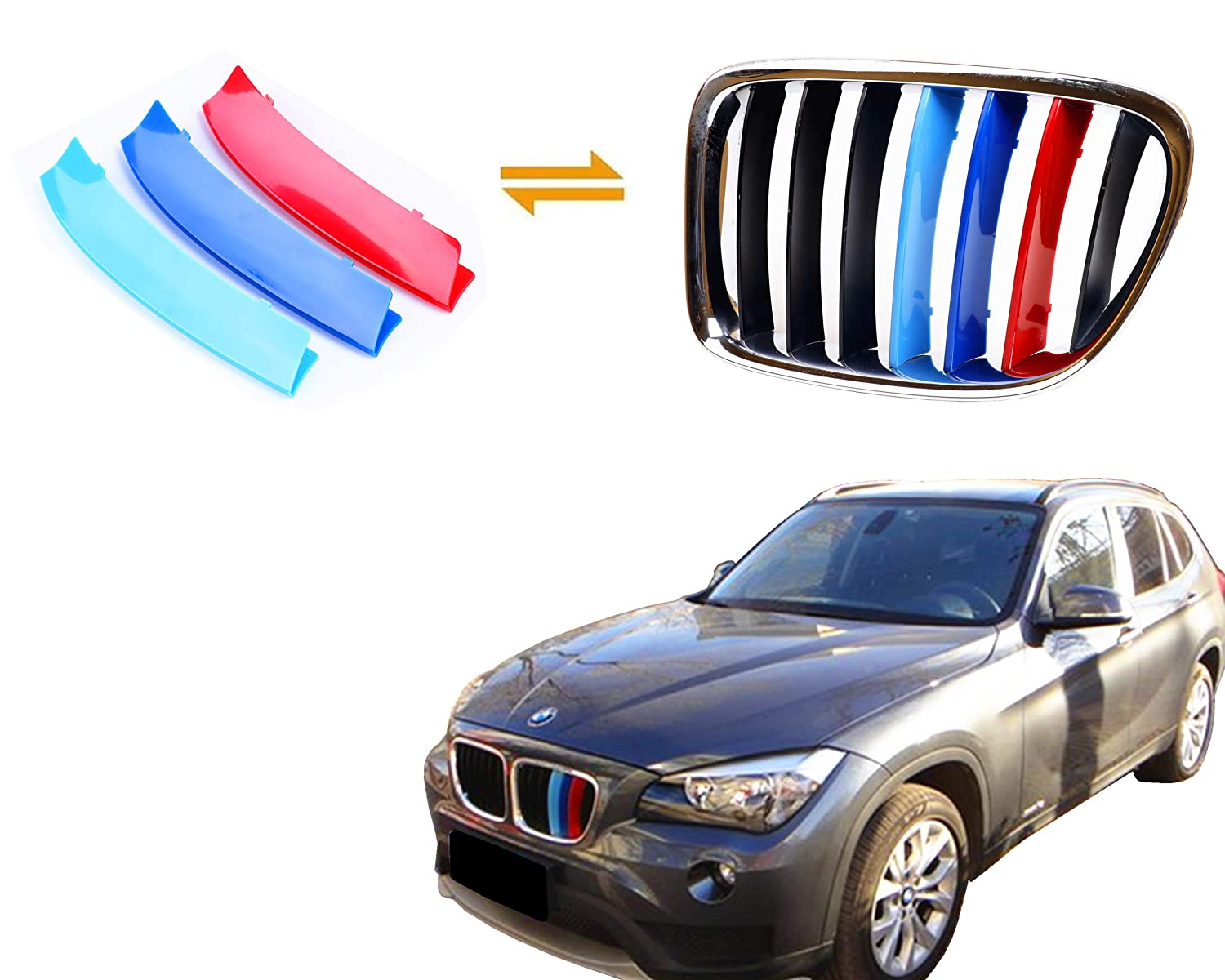 for BMW 2011-2015 X1, 7 Beams Jackey Awesome Exact Fit //////M-Colored Grille Insert Trims for BMW 2011-2015 BMW E84 X1 Center Kidney Grill