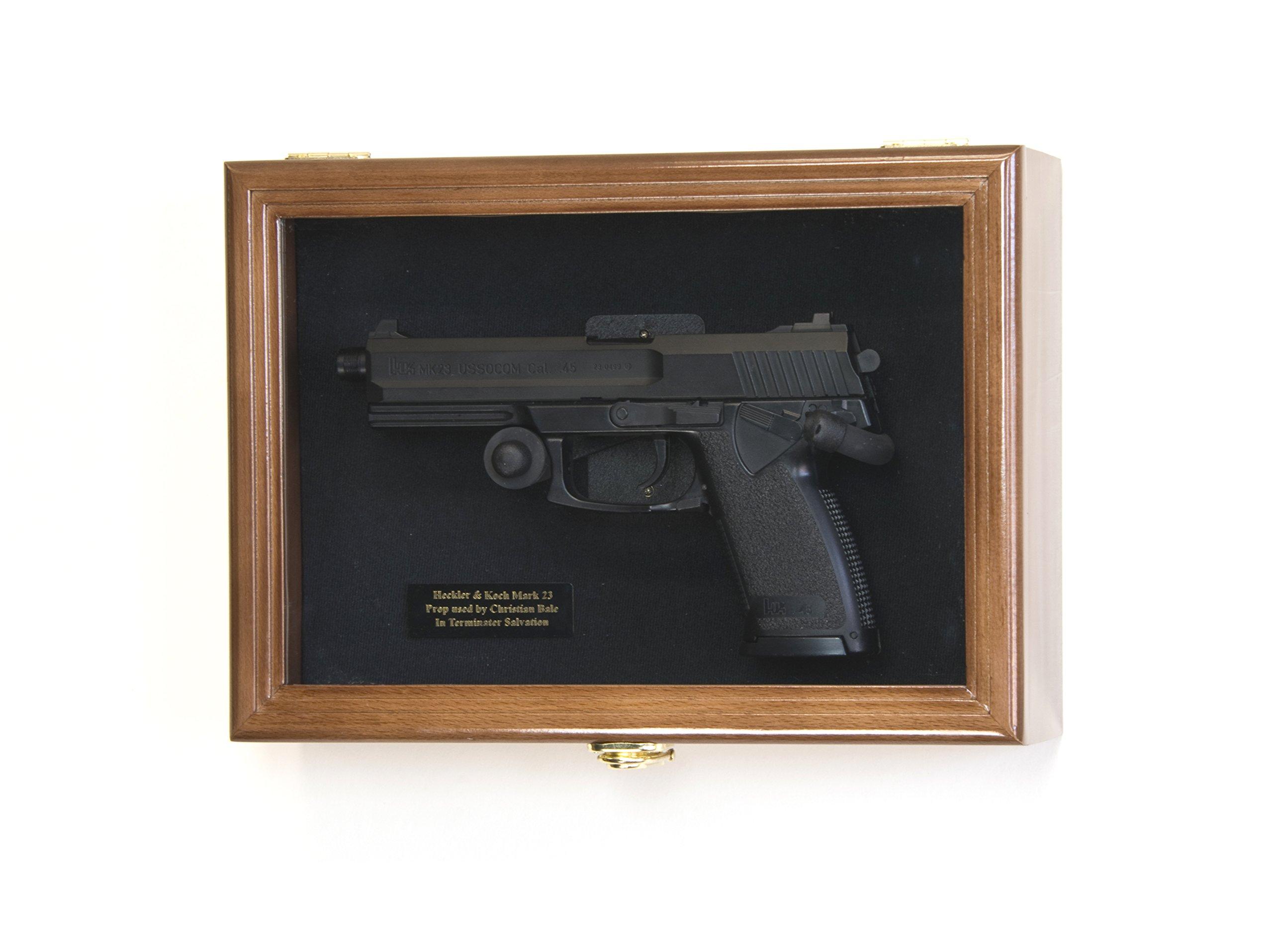 Single Pistol Display Case Wall Mount Solid Hardwood Cabinet (Walnut Finish, Black Felt Background) by sfDisplay.com, Factory Direct Display Cases