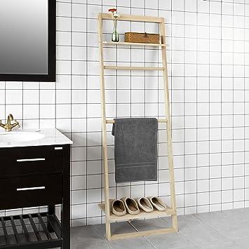 SoBuy® - Estante de escalera para toallas de baño, perchero de pasillo, estante de almacenamiento con 2 varillas 2 y estantes, FRG196-N: Amazon.es: Bricolaje y herramientas
