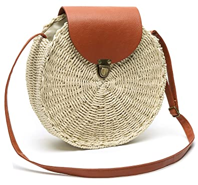 Amazon.com: Bolso redondo de verano con pajita tejida para ...