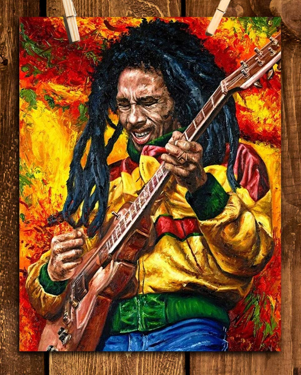 """Bob Marley-Rocking""- Abstract Concert Wall Art -8 x 10""s Wall Prints-Ready To Frame-Classic Marley Poster Print. Modern Home-Studio-Bar-Office Décor. Perfect Gift for All Reggae & Marley Fans."