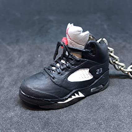 best website 1d26a 1f57f Air Jordan V 5 Retro Black Metallic Silver 23 OG Sneakers Shoes 3D Keychain  Figure
