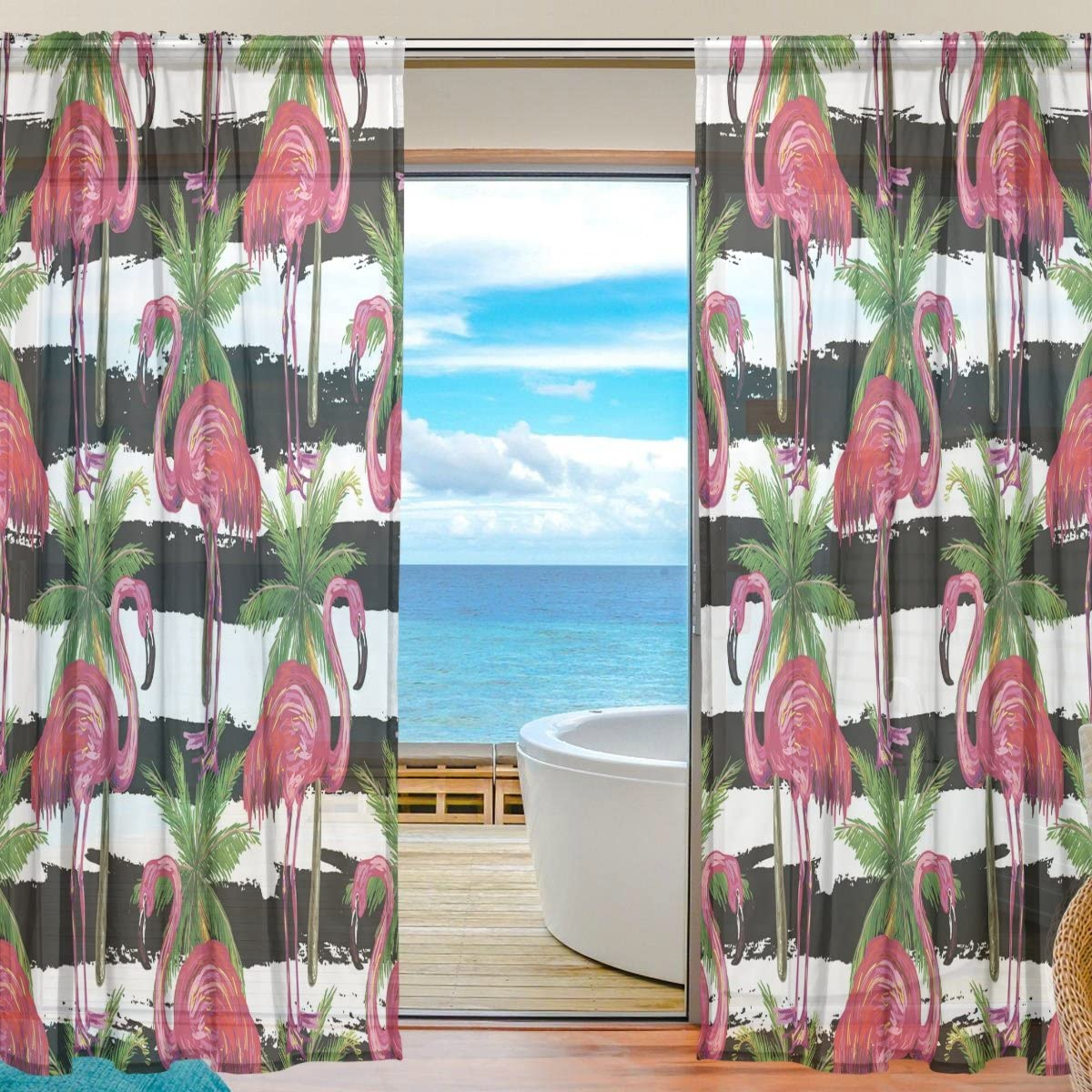 Oreayn Tropical Flamingo Black and White Striped Sheer Curtain 84 Inches Long by 55 Inches Wide,Flamingo Curtain for Living Room Bedroom Set of 2 Panels,Rod Pocket,Polyester Fabric