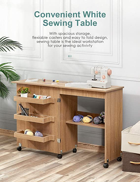 Kealive Brown Folding Sewing Table Sewing Craft Cart Wood Sewing Desk With Storage Shelves And Lockable Casters Sewing Cabinets With Storage Cabinet Multifunction Computer Desk For Small Spaces Sewing Cabinets Kolenik Arts