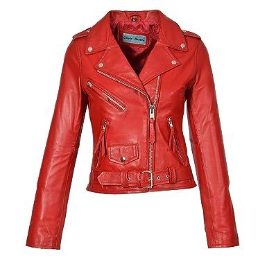 73491bd14246ca Damen Echte Rot Leder Biker Style Jacke Mädchen X-Zip Ausgestattet Designer- Mantel -