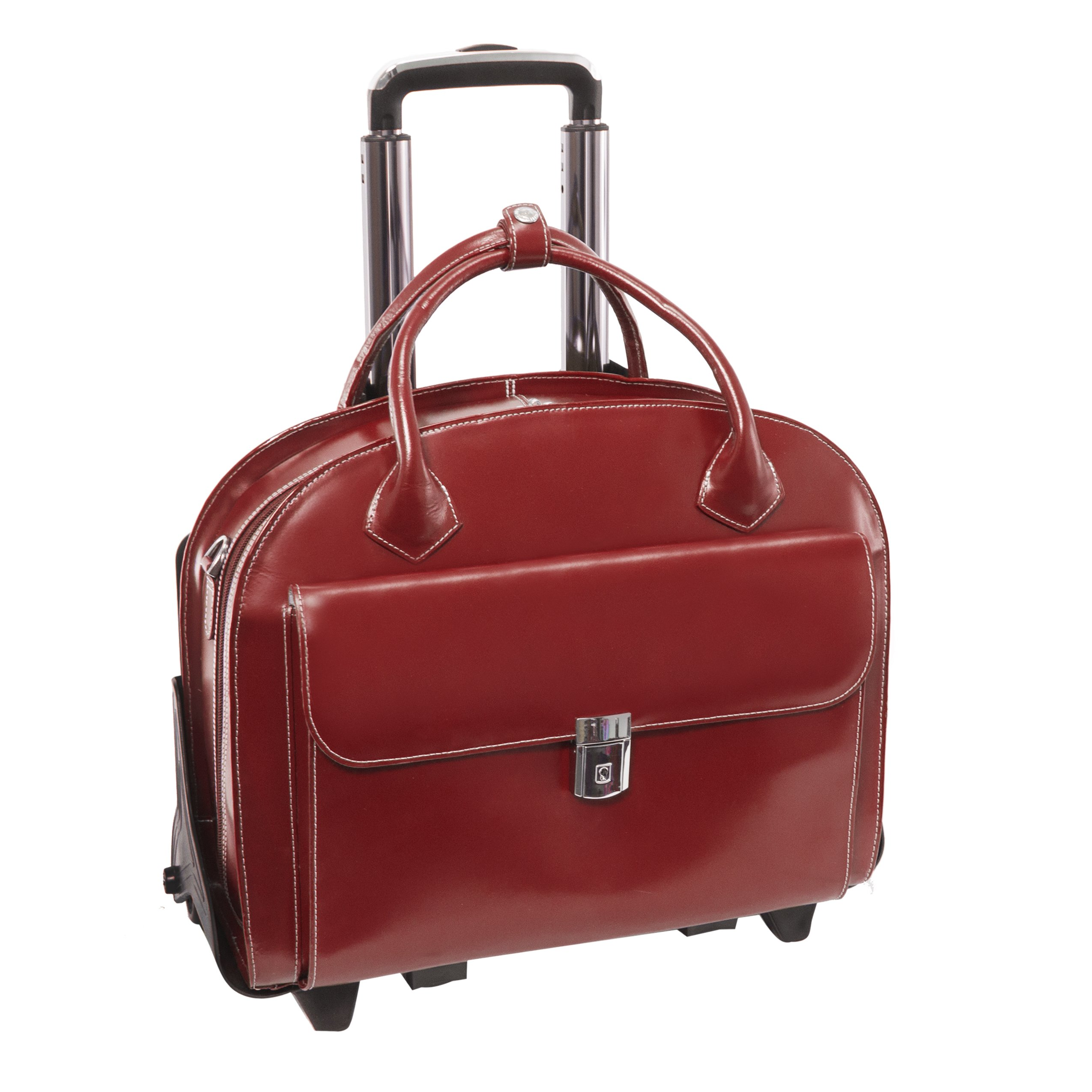 Mcklein USA 94366 Glen Ellyn, 15.4'' Leather Detachable Wheeled Case, One Size, Red