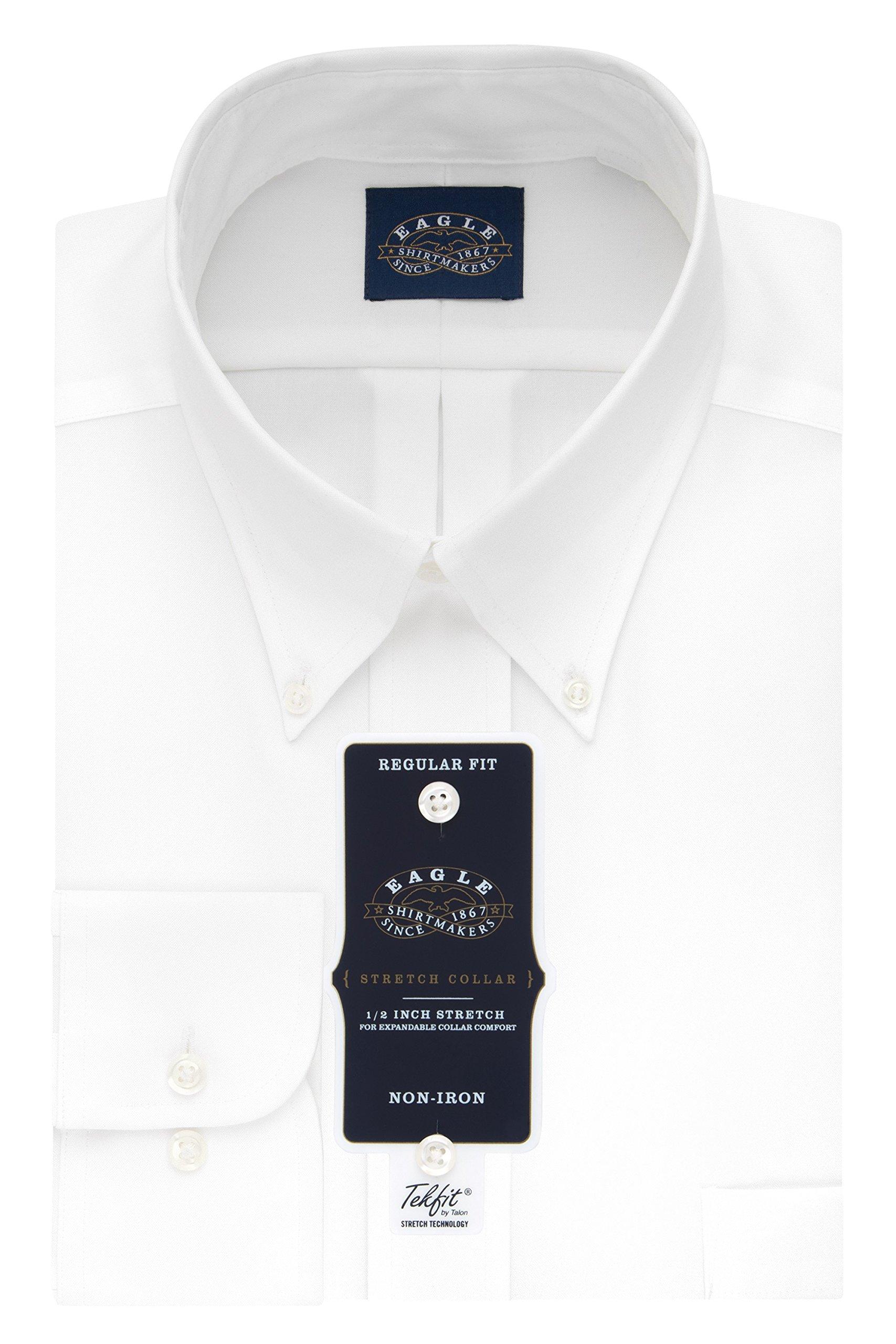 Eagle Men's Non Iron Stretch Collar Regular Fit Solid Buttondown Collar Dress Shirt, White, 17.5'' Neck 32''-33'' Sleeve