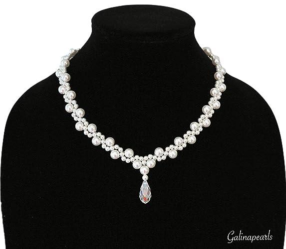 ba1eb50ba Amazon.com: Handmade SWAROVSKI Crystal White Pearl Necklace For Women AAA- Quality Clear Crystal Teardrop 925 Sterling Silver Clasp.: Handmade