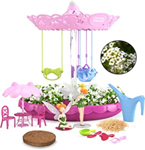 Kids Zone Fairy Garden Kit for Girls with 2 Fairies | Complete Garden Starter Kit with Seeds | Best DIY Gift for 3 - 8 Years Old | Gardening Kit with Lights & Music (Pink with Fairies)