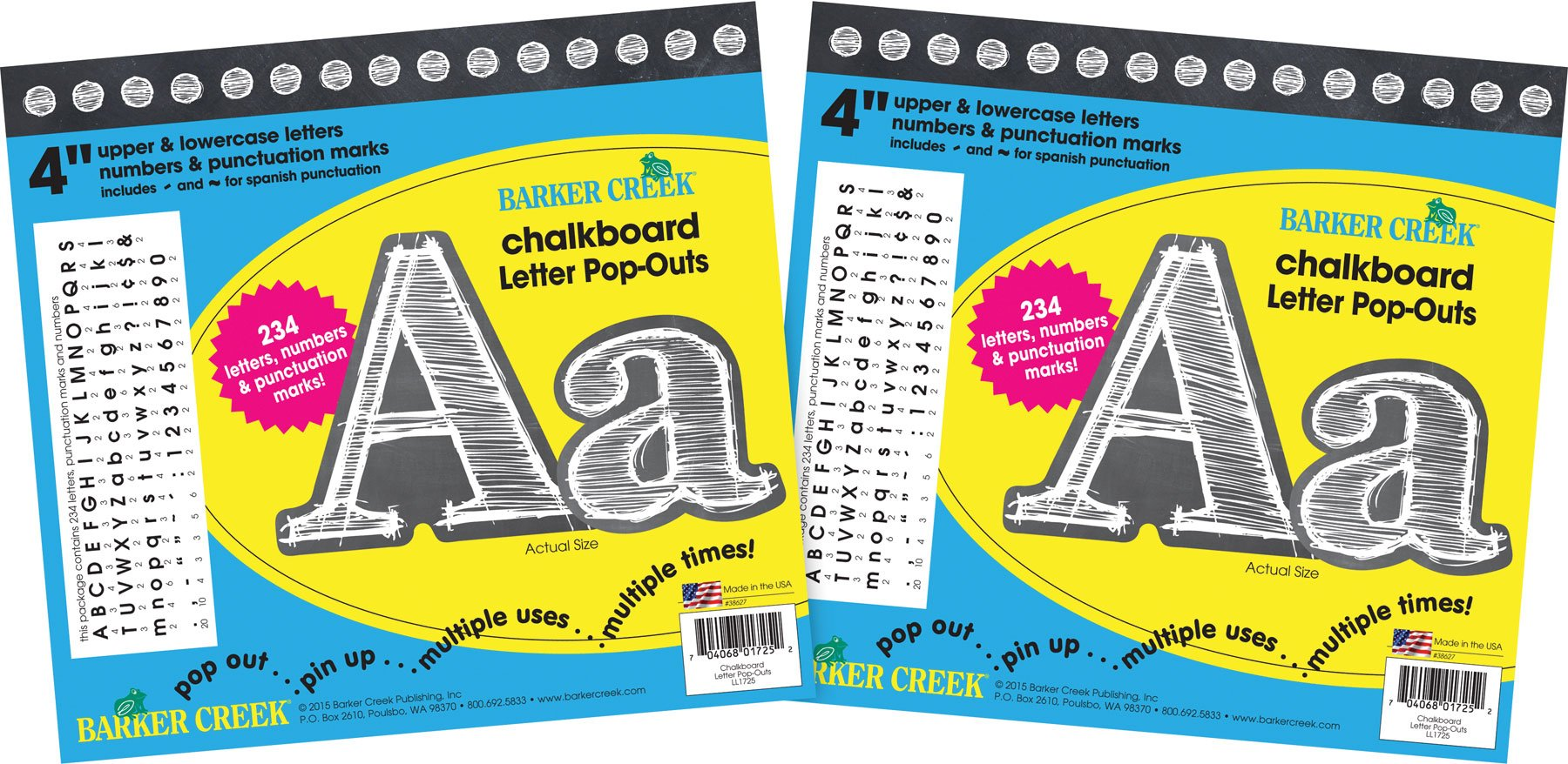 Barker Creek 4'' Letter Pop-Outs 2 Pack - Chalkboard (BC3646) by BARKER CREEK