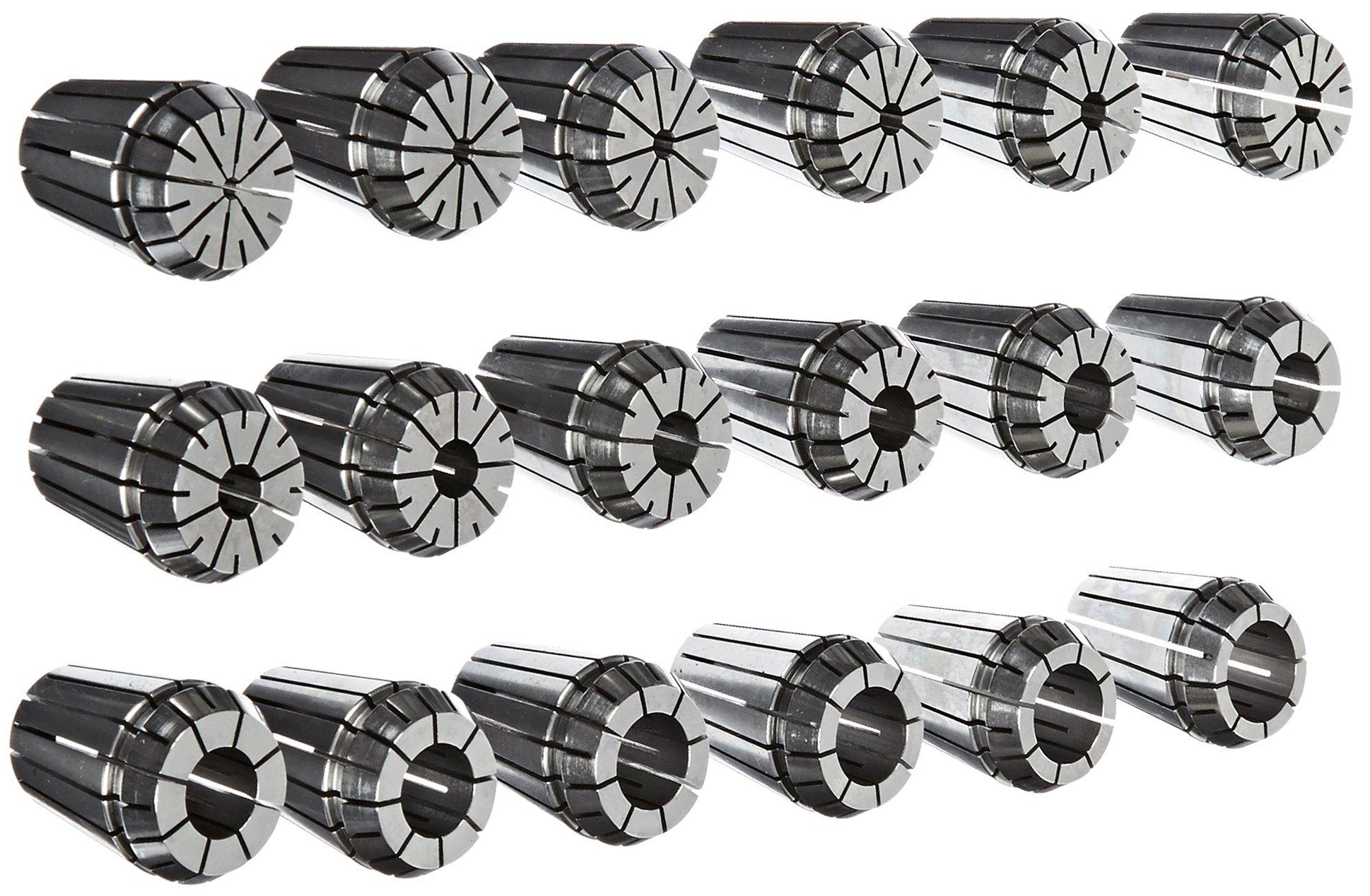 Dorian Tool ER32 Alloy Steel Ultra Precision Collet Set, 0.078'' - 0.787'' Hole Size (Set of 18)