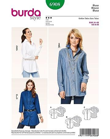 Burda Schnittmuster Bluse, hemdform 6908: Amazon.de: Küche & Haushalt