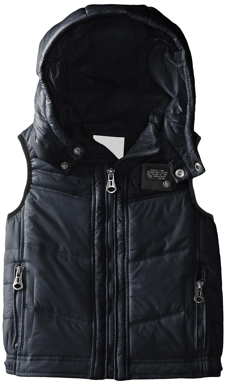 Diesel Little Boys' Jarbo Jacket Puffy Vest with Removable Hood Mood Indigo 5Y Diesel Children' s Apparel