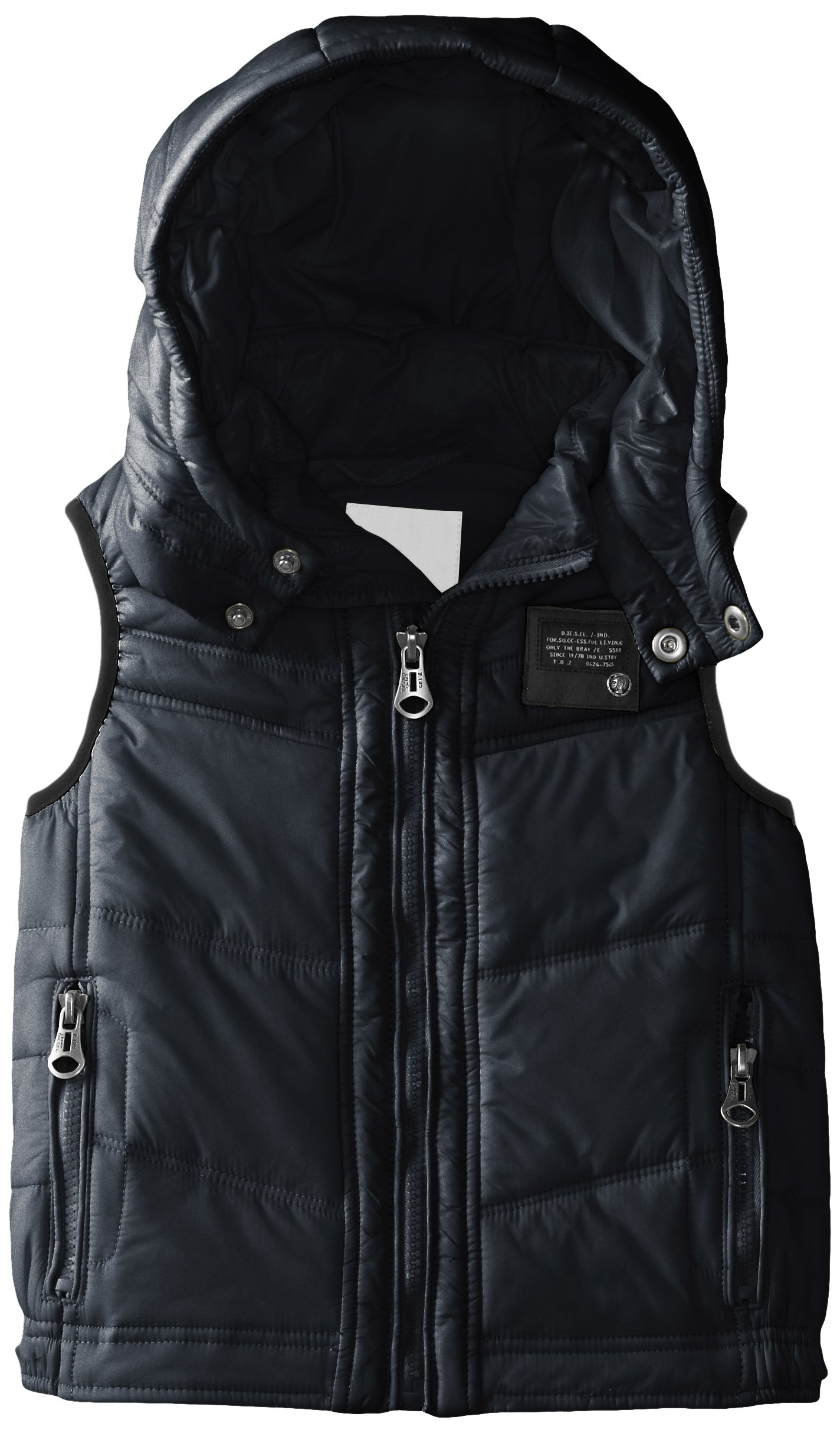 Diesel Little Boys' Jarbo Jacket Puffy Vest with Removable Hood, Mood Indigo, 6Y