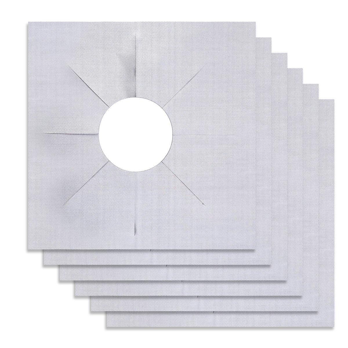 Dreamsoule 6 PCS / Set Home Non Stick Foil Gas Range Hob Stove Top Protectors Sheet Reusable Non-Stick Burner Liners 10.5 x 10.5 (27 x 27 cm)