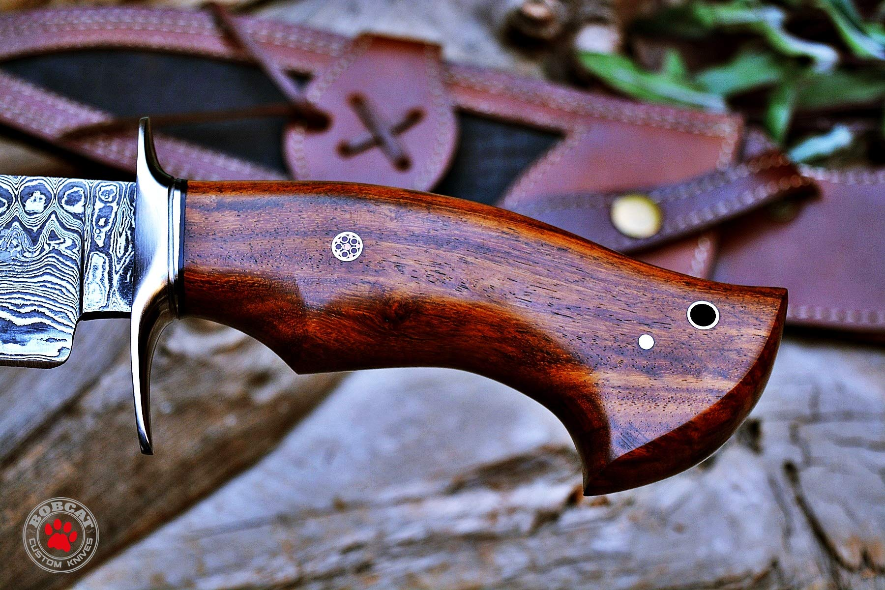 Custom Handmade Bowie Knife Hunting Knife Promotional Price Full Tang Damascus Steel 10'' Solid Walnut Wood Handle with Nice Sheath by Bobcat Knives (Image #5)