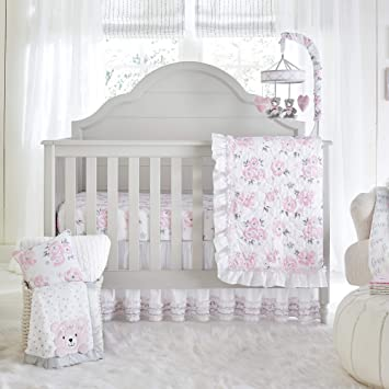 daed6737838d2 Amazon.com   Wendy Bellissimo 4pc Nursery Bedding Baby Crib Bedding Set -  Floral Crib Bedding from The Savannah Collection in Grey and Pink   Baby