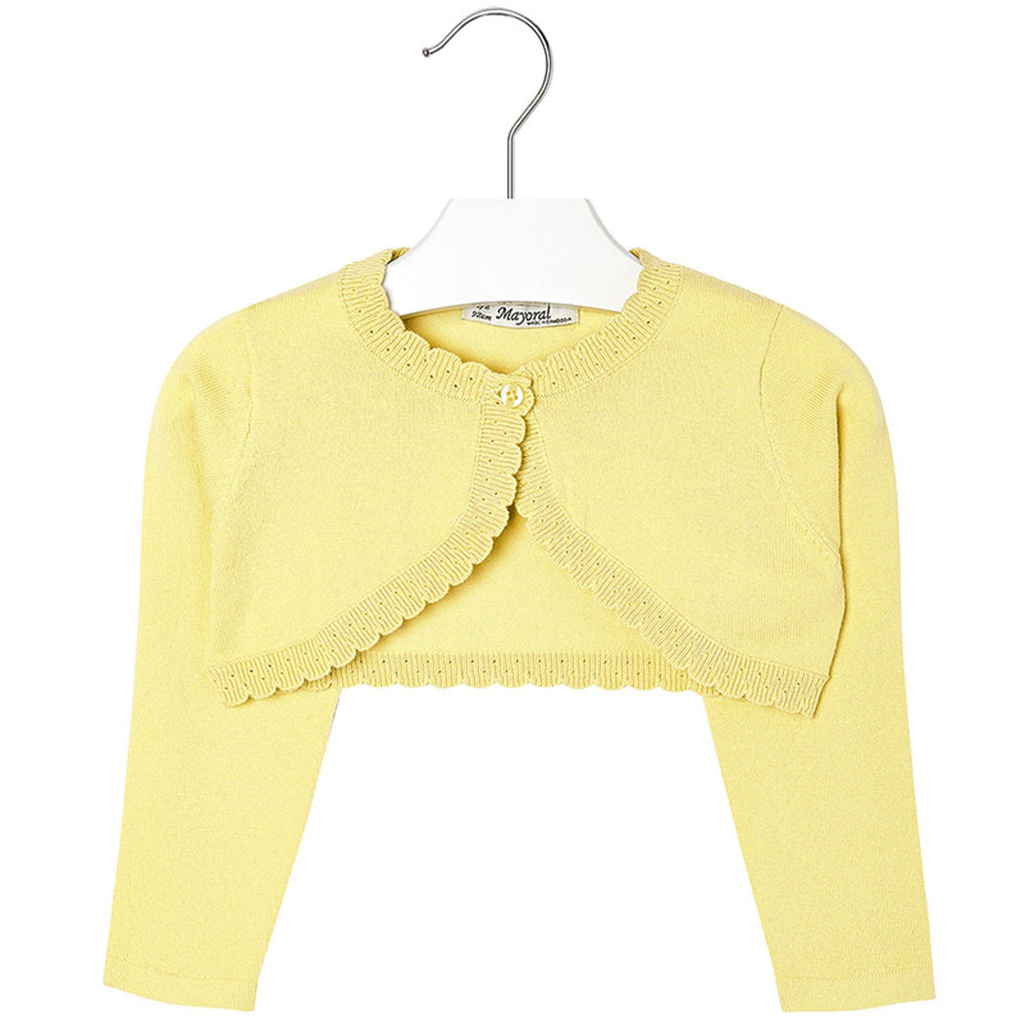 Mayoral Girls 2T-9 Chamomile-Yellow Scallop Edge Knit Shrug Cardigan Sweater, Chamomile,9