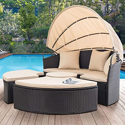 Devoko Outdoor Patio Round Daybed 5 Pieces Wicker Rattan Furniture Sets  All-Weather Seating Sofa Lawn Garden Backyard Daybed with Retractable  Canopy ...