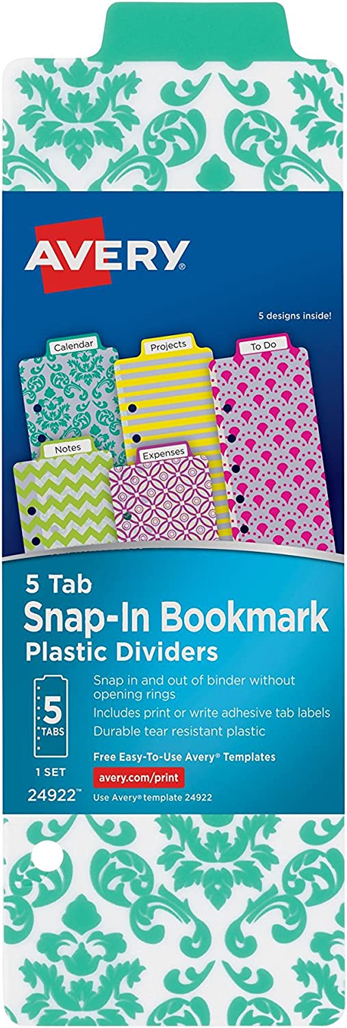 1 Set Avery Mini Snap-In Plastic Bookmark Dividers Assorted Designs 5 Tabs 24922