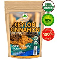 Ceylon Cinnamon Powder (1LB) | 100% CERTIFIED Organic | Freshly Ground Premium Sri Lanka Cinnamon For Exquisite Flavor and Aroma | Gluten Free & Non-GMO | Controlled and Packed in USA Food Facility