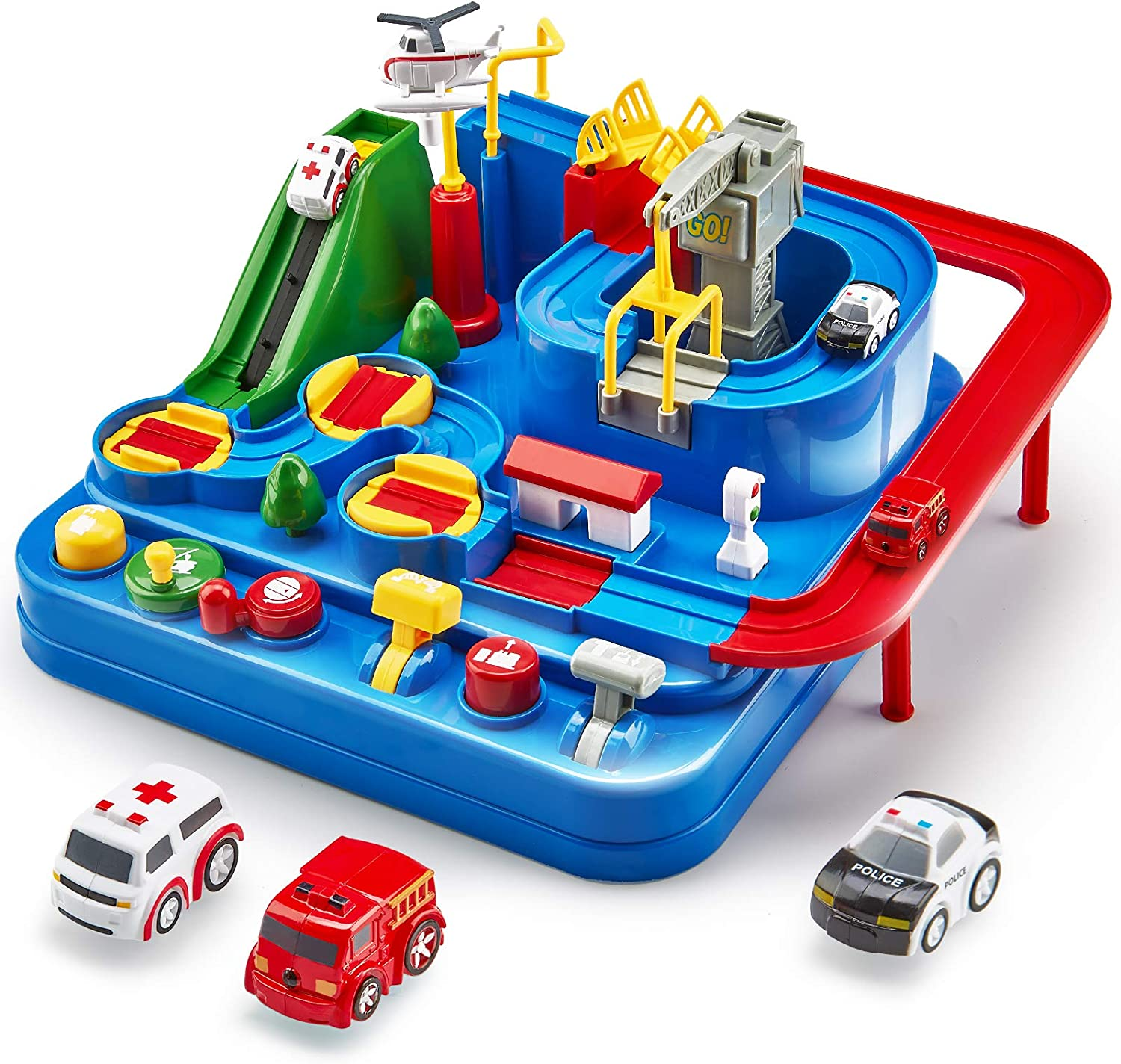 Car Adventure Toy Smart Wheels Park And Learn Garage Mini Car Toys Manipulative Rescue Squad Adventure Train Track Set Racing Gifts Children Railway Track Interactive Toys
