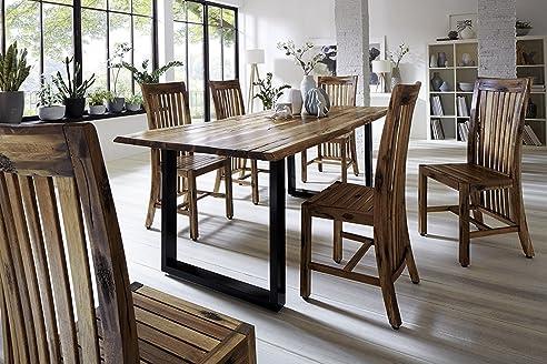 SAM® Stilvoller Esszimmertisch Imker Aus Akazie Holz, Baumkantentisch Mit  Lackierten Beinen Aus Roheisen
