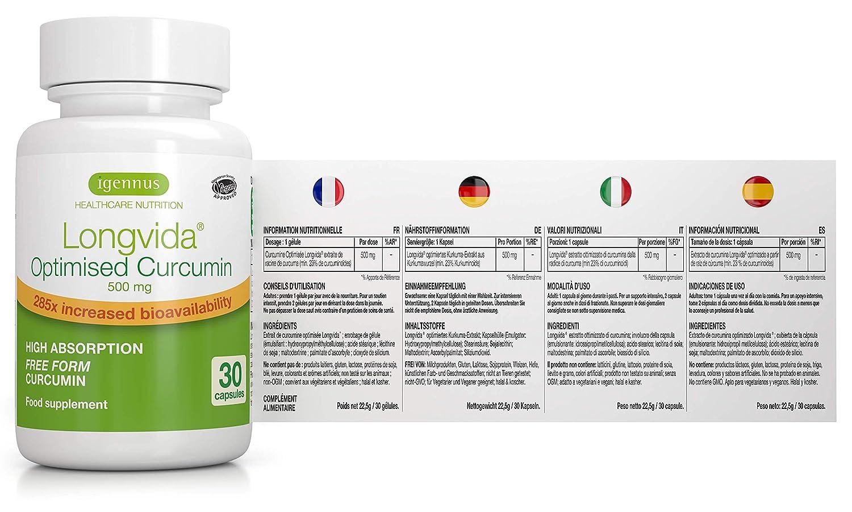 6 x Curcumina Optimizada Longvida 500 mg, alta absorción y biodisponibilidad 285x mayor, vegan/vegano, 6x30 cápsulas, suministro de 6 meses
