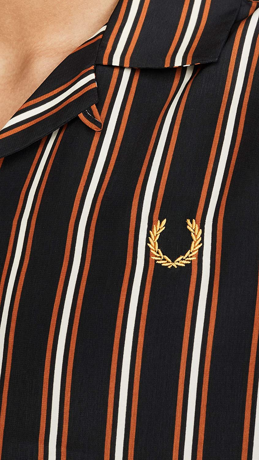 Fred Perry Mens Miles Kane Striped Camp Collar Shirt