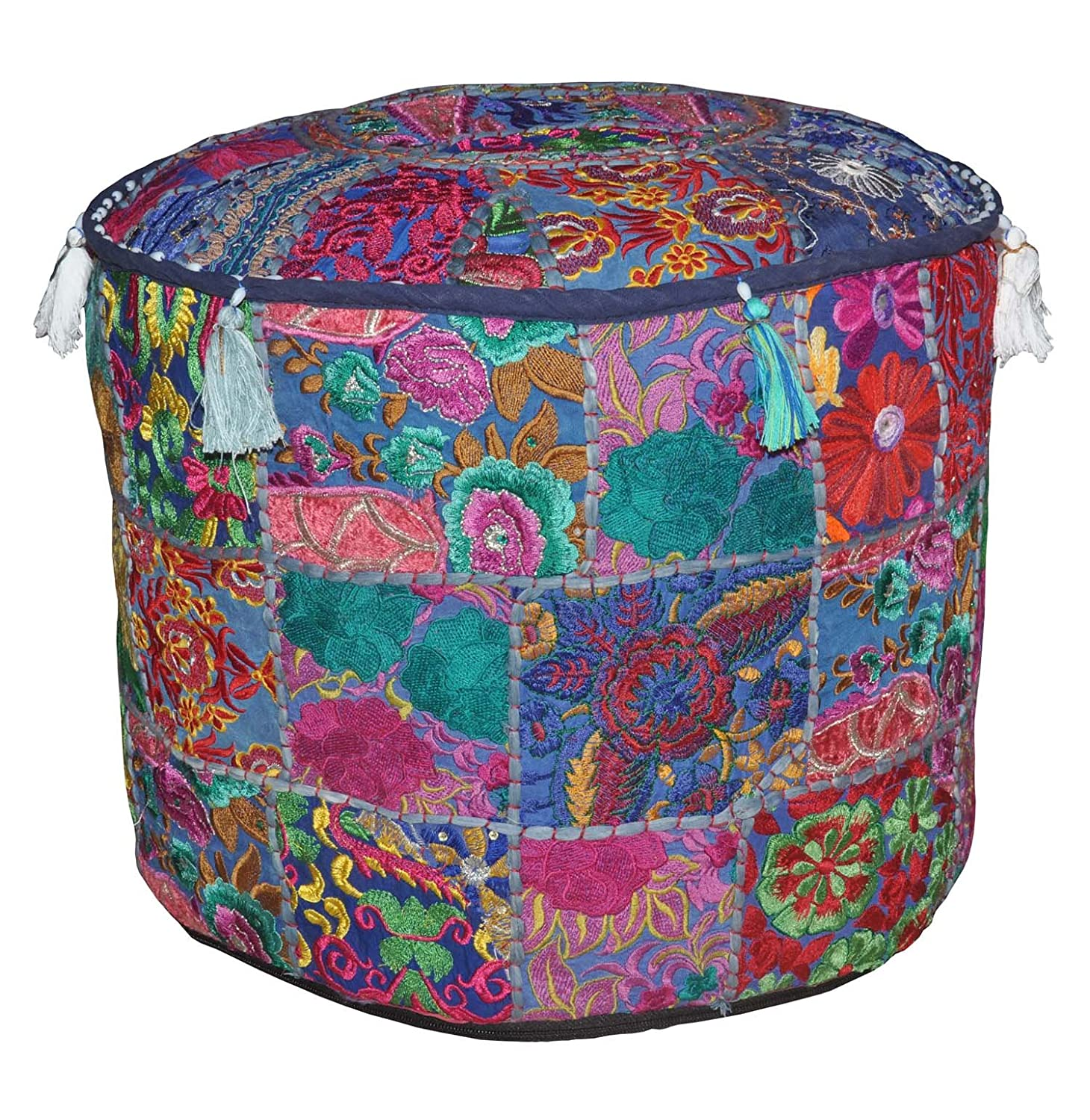 Rajasthali Indian Vintage Ottoman Embellished With Embroidery & Patchwork Foot Stool Floor Cushion, 46 X 33 Cm