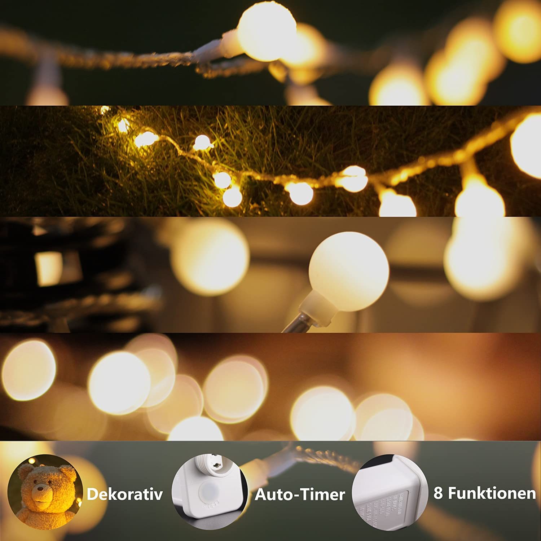 Wasserdicht Stecker und Kabeldose Lichterkette Weihnachtsbaum Deko LED Globe Light Pack mit Fernbedienung von myCozyLite/® LED Lichterkette mit Timer Globe