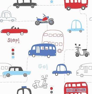 Auto Kindertapete Kinderzimmer Tapete weiss Cars Papiertapete ...