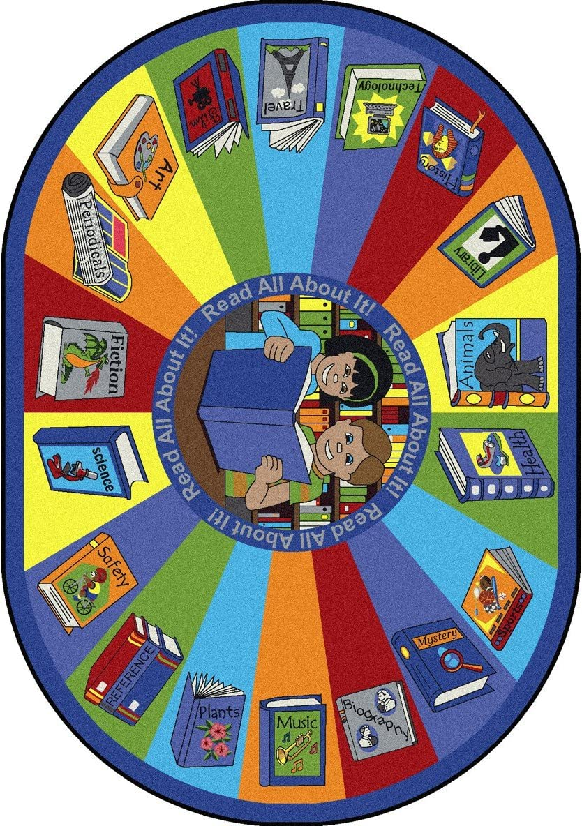 Joy Carpets Kid Essentials Language Literacy Oval Read All About It Rug, Multicolored, 5 4 x 7 8
