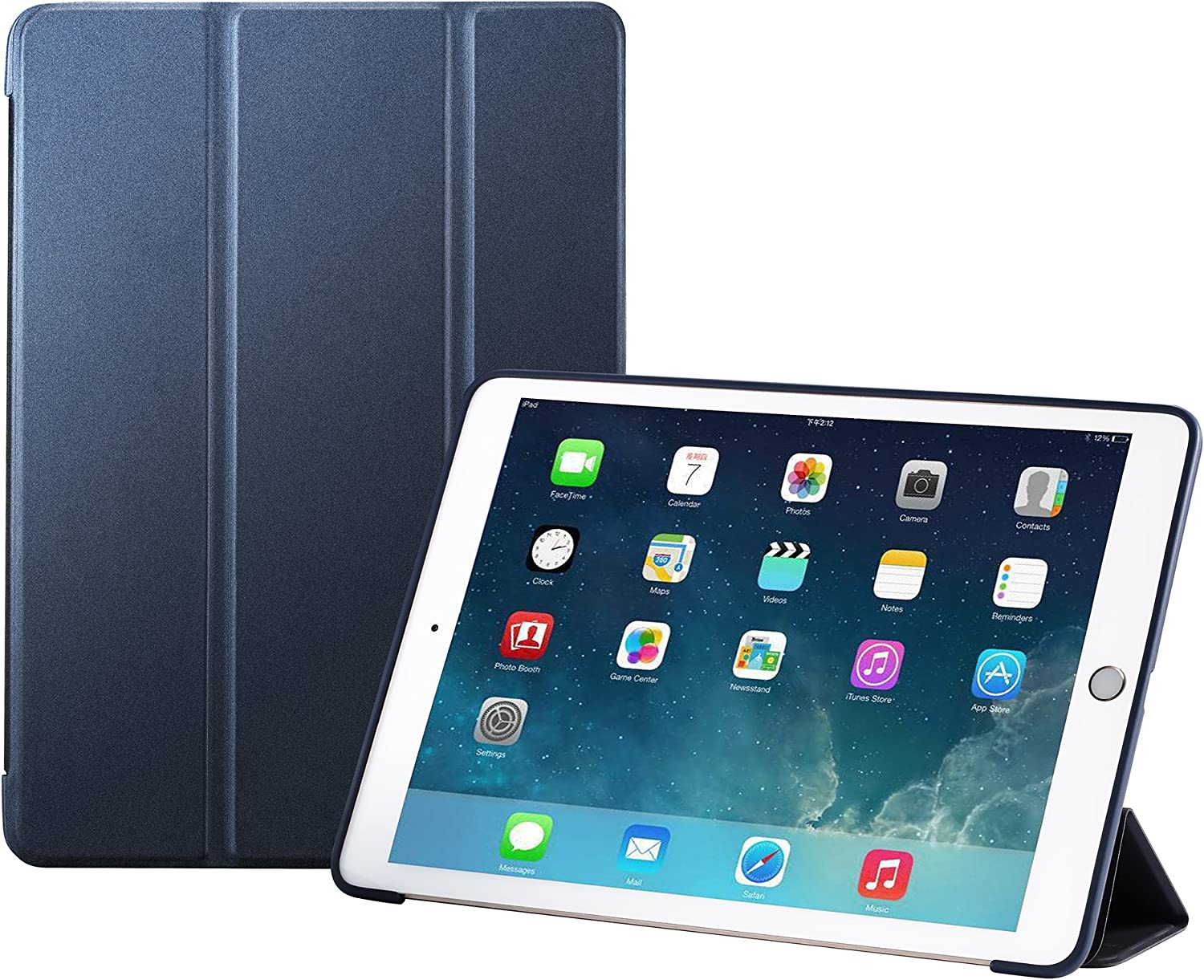 RUBAN Case Compatible with iPad (9.7-Inch, 2018/2017 Model) - Ultra Slim Lightweight Smart Shell Standing Cover with Auto Wake/Sleep Feature, Navy Blue