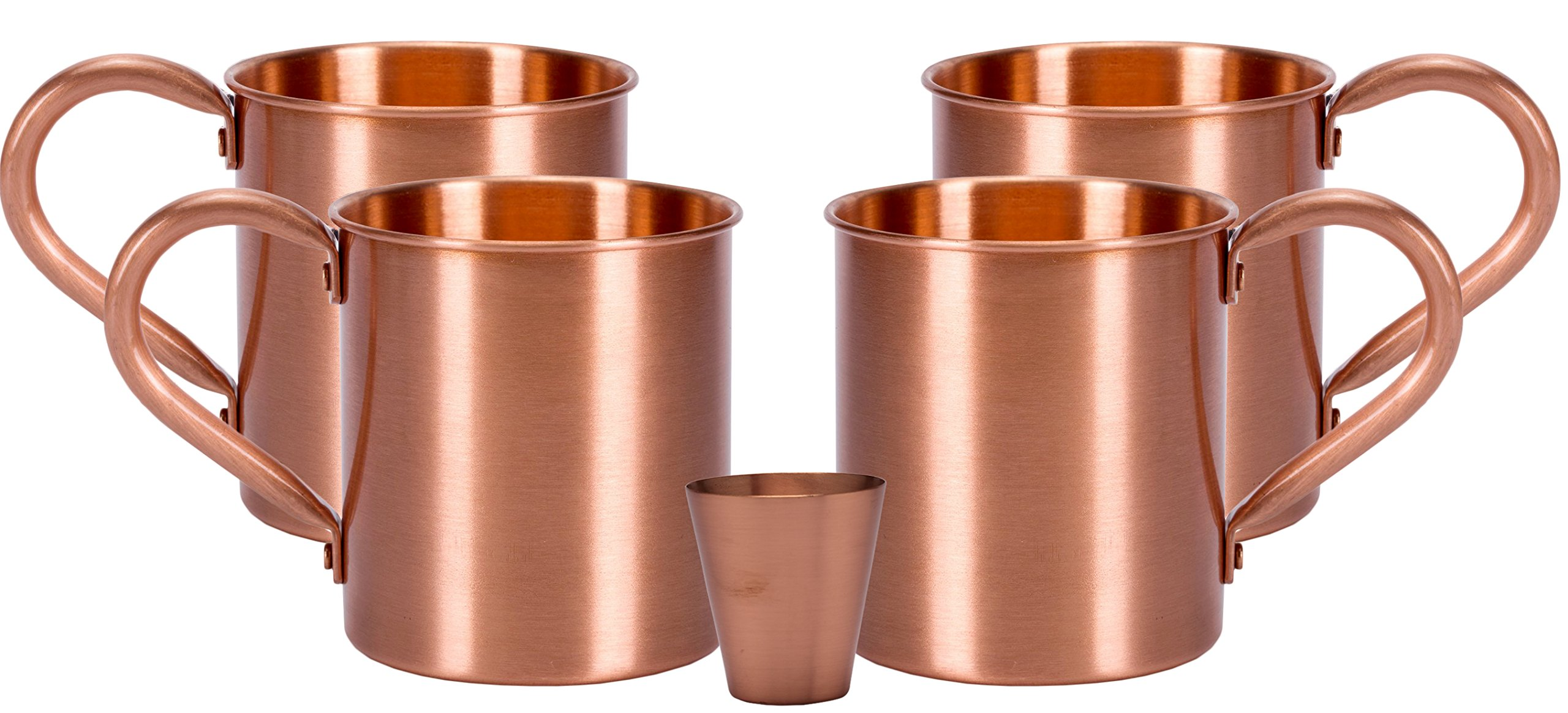 Melange 20 Oz Copper Classic Mug for Moscow Mules, Set of 4 with One Shot Glass - Heavy Gauge - No Lining - Includes Free Recipe Card