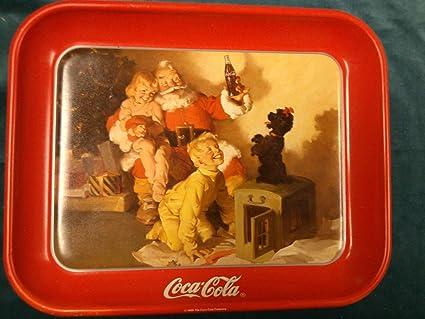 Amazon com: Vintage 1986 Santa, Children, & Poodle Coca Cola Tray
