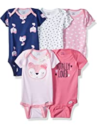 b9d40ca31 Gerber Baby-Girls Baby Girls 5-Pack Short-Sleeve Onesies Bodysuits