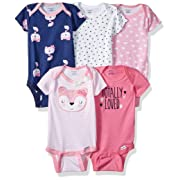 Gerber Baby Girls' 5-Pack Variety Onesies Bodysuits, Fox, Newborn