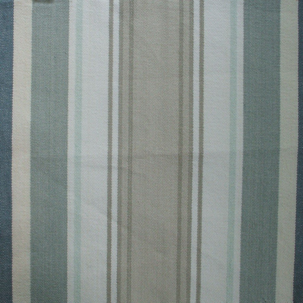 Bridgewater Spa Green Taupe Blue Stripe Tailored Standard Shams Pair, Lined Cotton