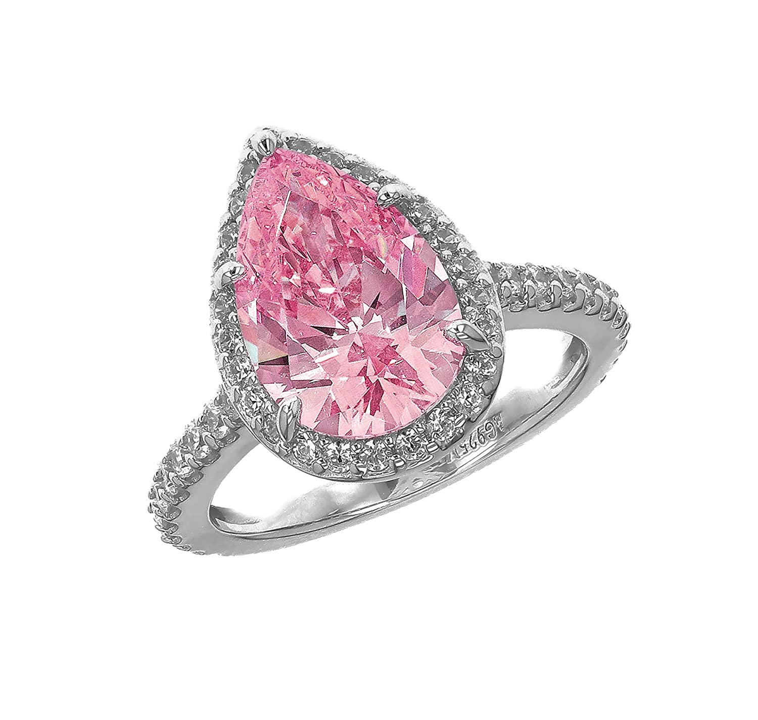 Myia Passiello Platinum Plated Sterling Silver Colour Pop Halo Pink ...