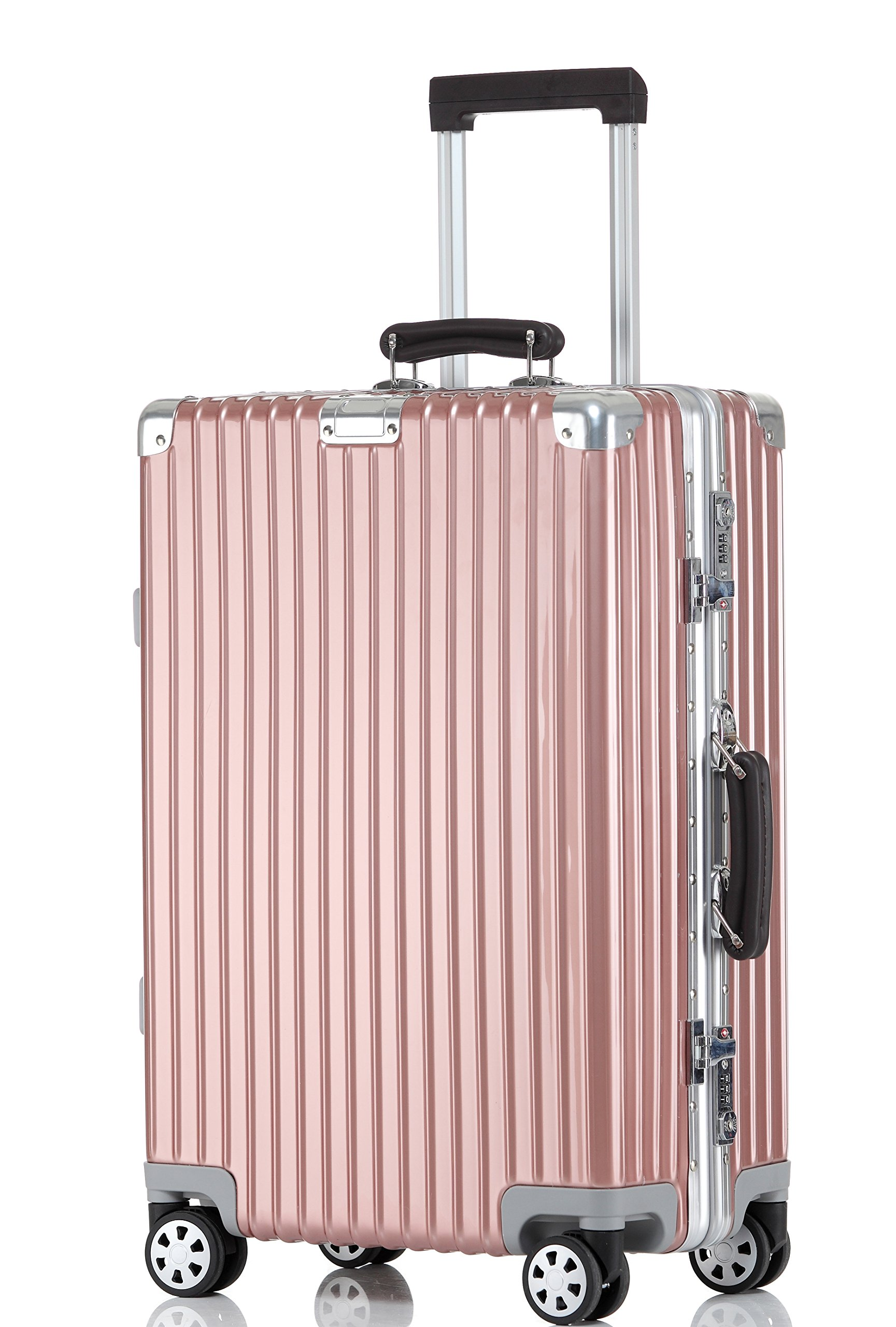 Luggage Aluminum Frame Hardshell Spinner Suitcase TSA Approved 28'', Rose Gold