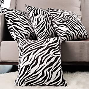 MERRYLIFE 4-Pack 18x18 Inches Velvet Soft Solid Color Decorative Square Throw Pillow Covers Set Cushion Pillow Cover Case for Couch Sofa Patio Chair Bedroom Home Car Decor-Zebra