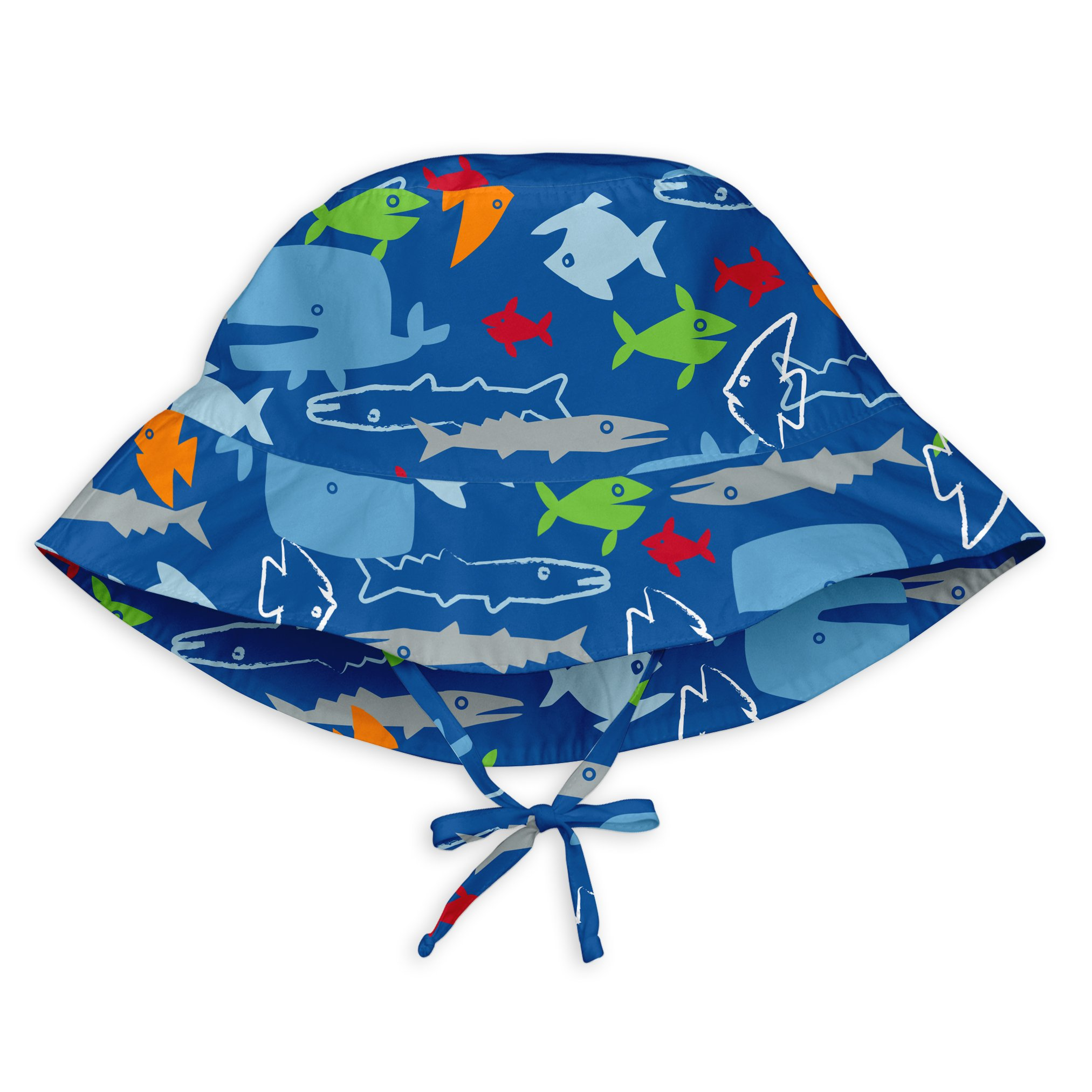 i play. Baby Boys Bucket Sun Protection Hat, Royal Blue Fish, 9/18mo by i play.
